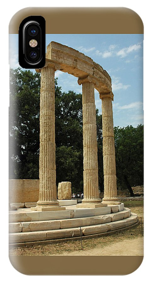 Temple IPhone X Case featuring the photograph Round Temple At Olympia by Deni Dismachek