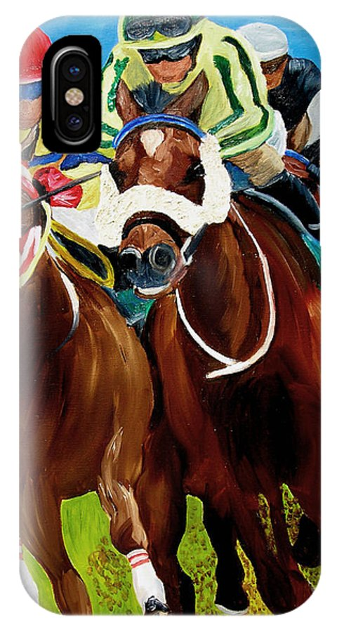 Horse Racing IPhone X Case featuring the painting Rounding The Bend by Michael Lee