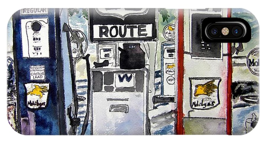Route 66 IPhone X Case featuring the painting Route 66 by Derek Mccrea