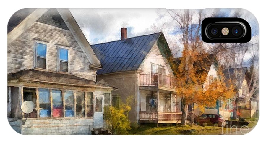 Hardwick; House; Home; Street; Town; Rural; City; Row; Homes; Houses; Decay; Old; Period; Traditional; New England; Stowe; Vermont; Country; Fall; Farm; Harvest; Rural IPhone X Case featuring the photograph Row Of Houses Hardwick Vermont Watercolor by Edward Fielding