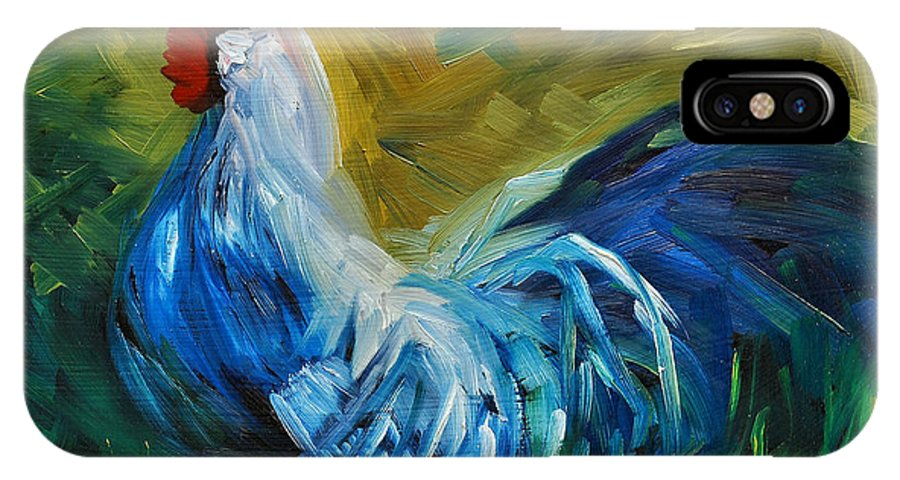 Rooster IPhone X Case featuring the painting Rowdy Rooster by Diane Whitehead