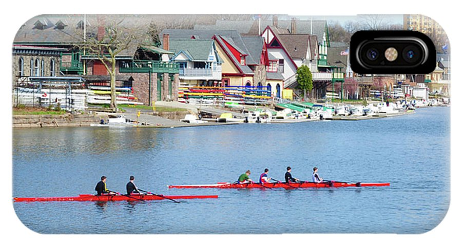 Rowers IPhone X Case featuring the photograph Rowing Along The Schuylkill River by Bill Cannon