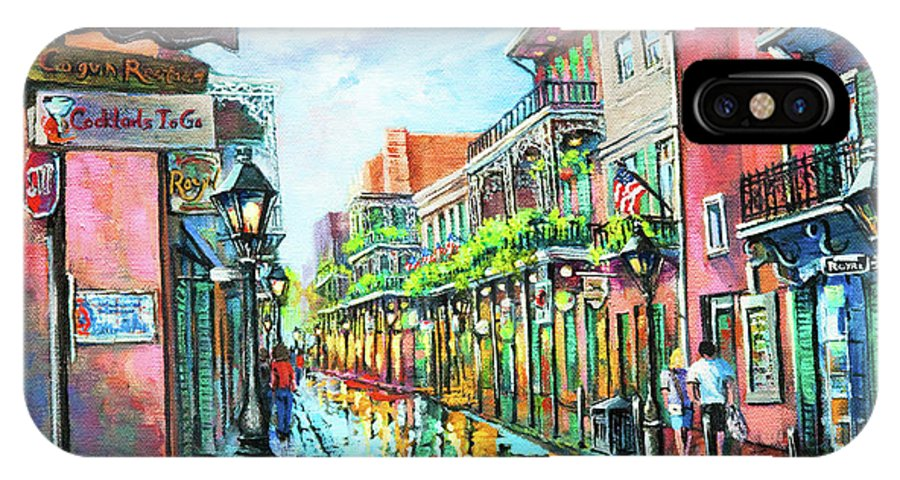 New Orleans IPhone X Case featuring the painting Royal Lights by Dianne Parks