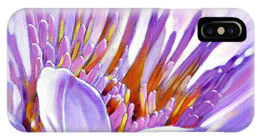 Water Lily IPhone X Case featuring the painting Royal Purple And Gold by John Lautermilch