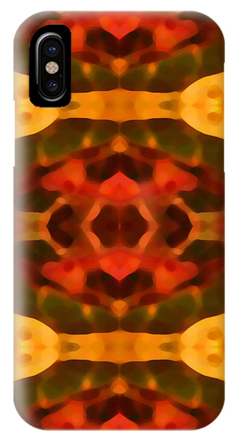 Abstract Painting IPhone X Case featuring the digital art Ruby Crystal Pattern by Amy Vangsgard