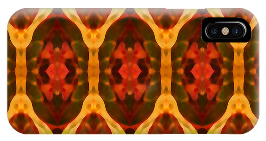 Abstract IPhone X Case featuring the painting Ruby Glow Pattern by Amy Vangsgard