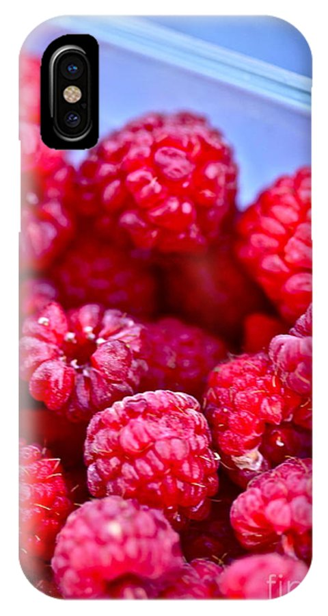 Red IPhone X Case featuring the photograph Ruby Raspberries by Nadine Rippelmeyer