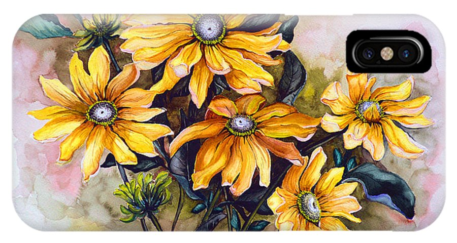 Flower Painting Sun Flower Painting Flower Botanical Painting  Original Watercolor Painting Rudebeckia Painting Floral Painting Yellow Painting Greeting Card Painting IPhone X Case featuring the painting Rudbeckia Prairie Sun by Karin Dawn Kelshall- Best