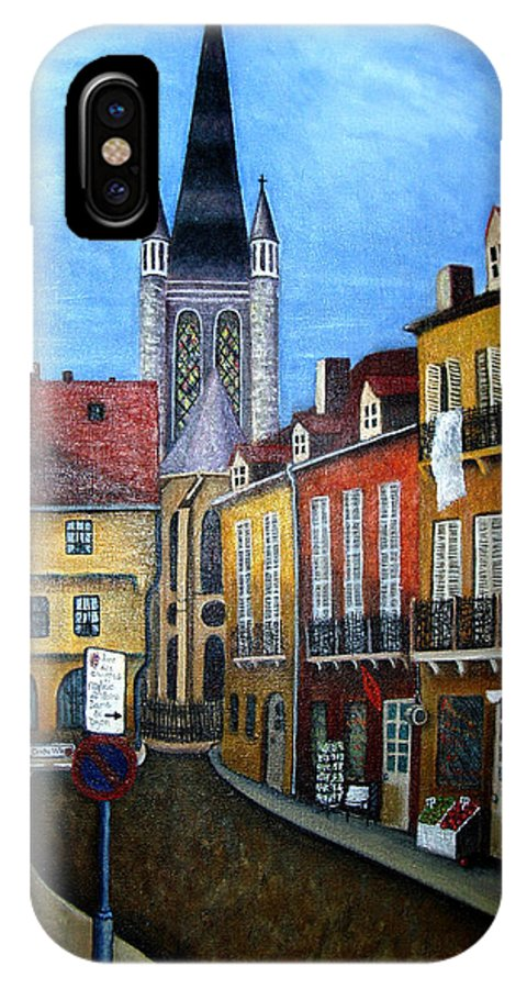 Street Scene IPhone X Case featuring the painting Rue Lamonnoye In Dijon France by Nancy Mueller