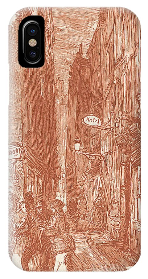 IPhone X Case featuring the drawing Rue Saint-severin by Auguste Lep?re