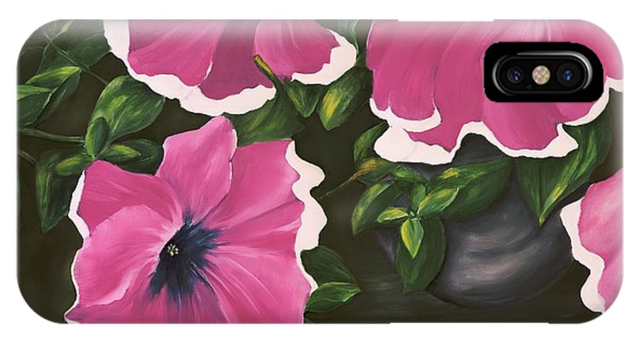 Petunia IPhone X Case featuring the painting Ruffled Petunias by Carol Sweetwood