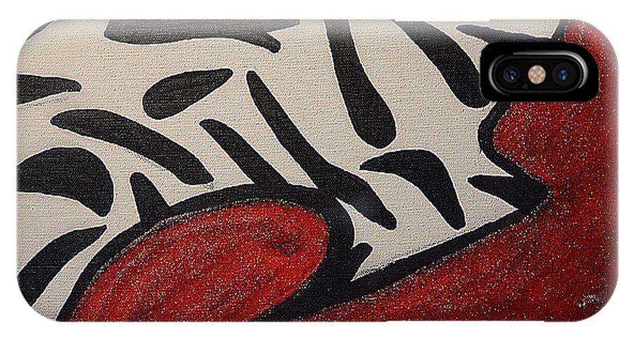 Red IPhone X Case featuring the painting Rug by Ceaira Robinson
