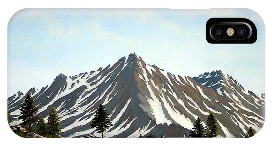Mountians IPhone X Case featuring the painting Rugged Peaks by Frank Wilson