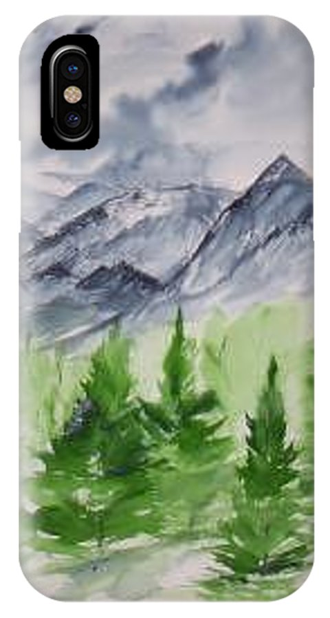 Plein Air IPhone X Case featuring the painting Ruidoso NM southwestern mountain landscape watercolor painting poster print by Derek Mccrea