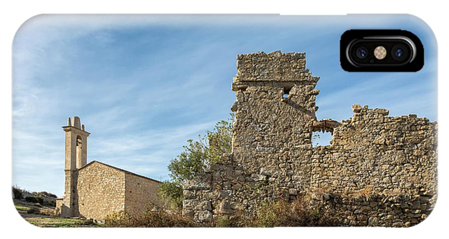 Ancient IPhone X Case featuring the photograph Ruined Building And Restored Church At Occi In Corsica by Jon Ingall