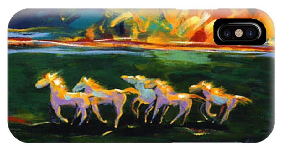 Abstract Horse IPhone Case featuring the painting Run From The Sun by Lance Headlee
