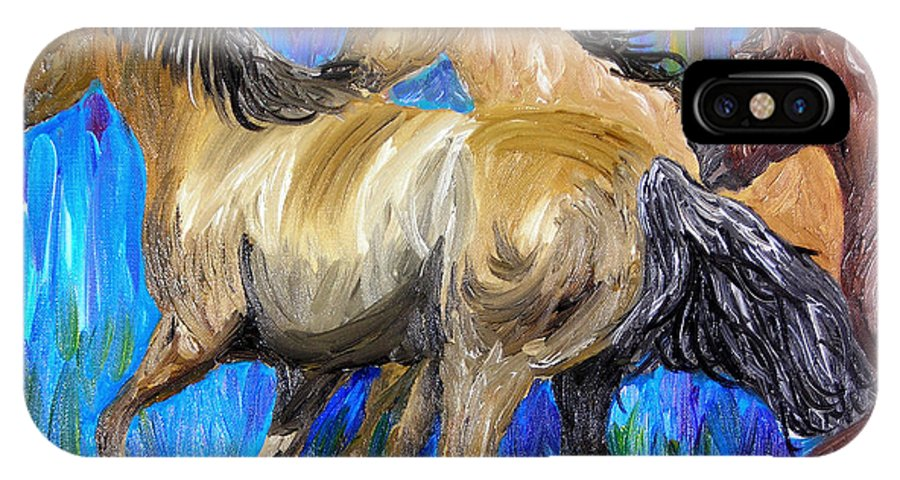 Horses IPhone X Case featuring the painting Running Colors by Michael Lee