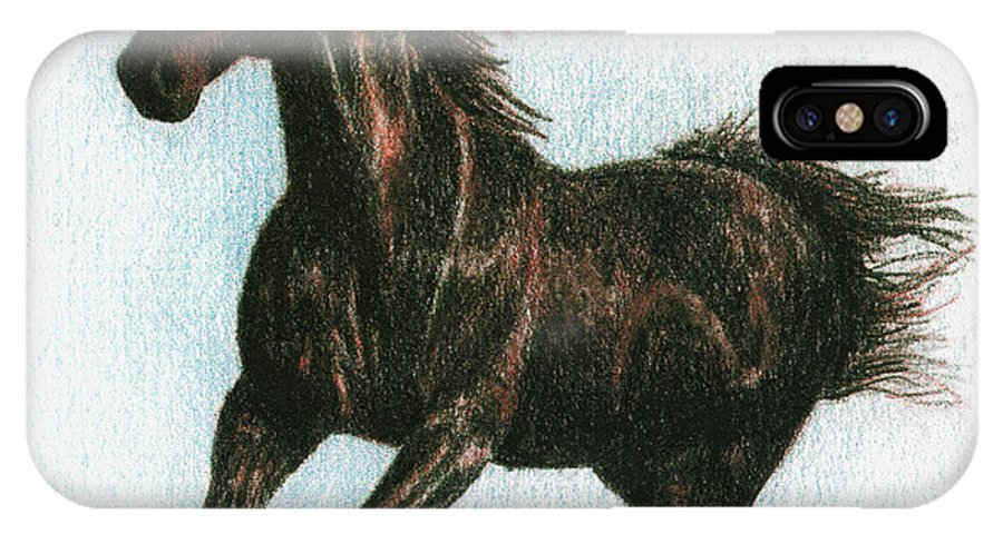 Horse IPhone Case featuring the drawing Running Free by Arline Wagner