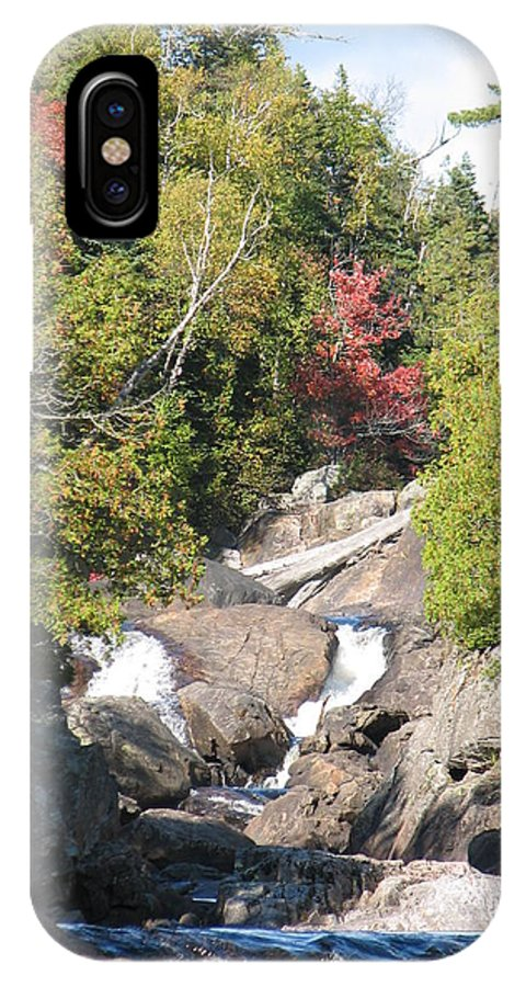 Waterfall IPhone X Case featuring the photograph Running Through The Woods by Kelly Mezzapelle