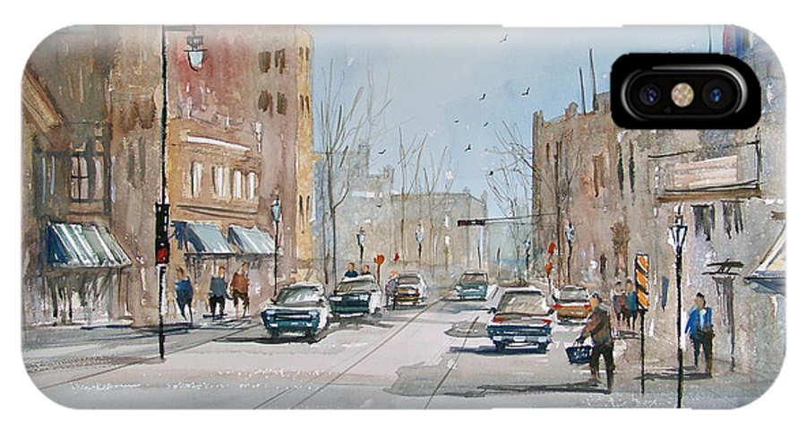 Street Scene IPhone X Case featuring the painting Rush Hour - Fond Du Lac by Ryan Radke