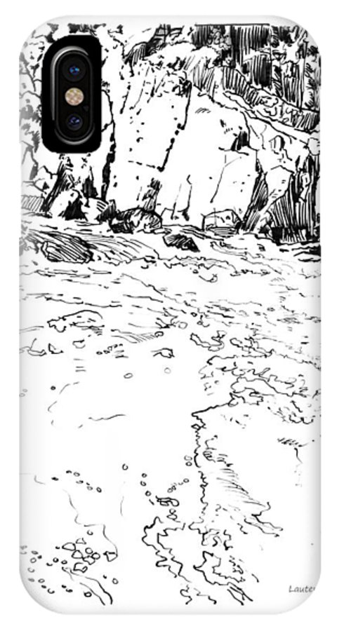 Rushing Stream IPhone X Case featuring the drawing Rushing Waters Colorado by John Lautermilch