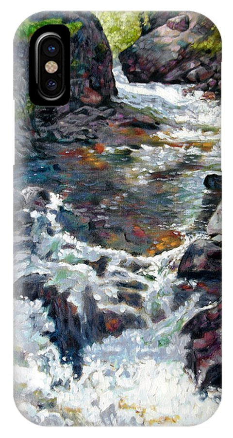 A Fast Moving Stream In Colorado Rocky Mountains IPhone X Case featuring the painting Rushing Waters by John Lautermilch