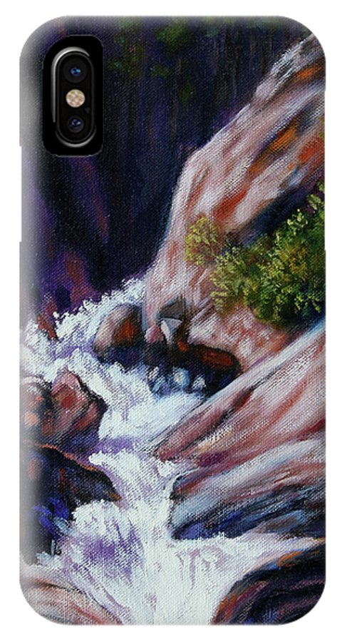 Mountain Stream IPhone X Case featuring the painting Rushing Waters two by John Lautermilch
