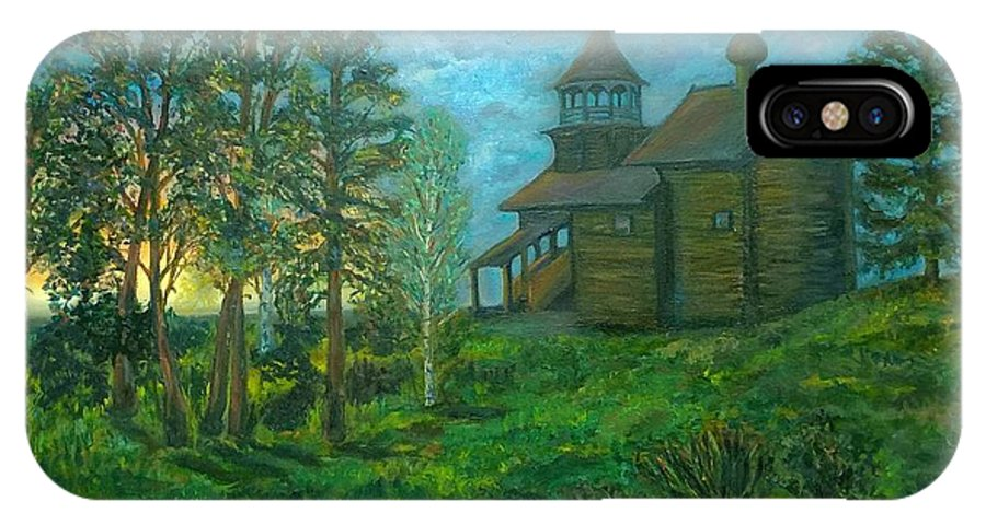 Russian Countryside Landscape With A Wooden Church Surrouded By Trees At A Sunset Iphone X Case