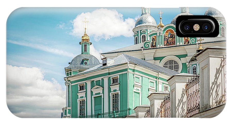 Orthodoxy Ancient Architecture Aureate Beauteous Beautiful Beautiful Blue Cathedral Celebrated Chair Clouds Creator Crosses Cult Dais Day Deify Deity Divinity Divinize Domes Eldest Eminent Excellent Faith Famed Famous Fine Gilded Gilt Glorious God Gold-filled Gold-plated Grandeur Great Greatness Greatness Holy Lovely Majesty Monasticism Nailing Old Power Religion IPhone X Case featuring the photograph Russian Orthodox Cathedral. by Yurii Agibalov