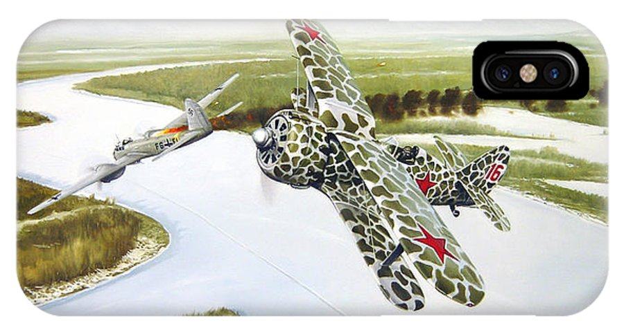 Aviation IPhone X Case featuring the painting Russian Roulette by Marc Stewart