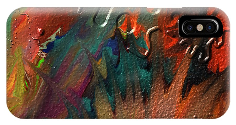 Abstract IPhone X Case featuring the painting Rust never sleeps by Kevin Caudill