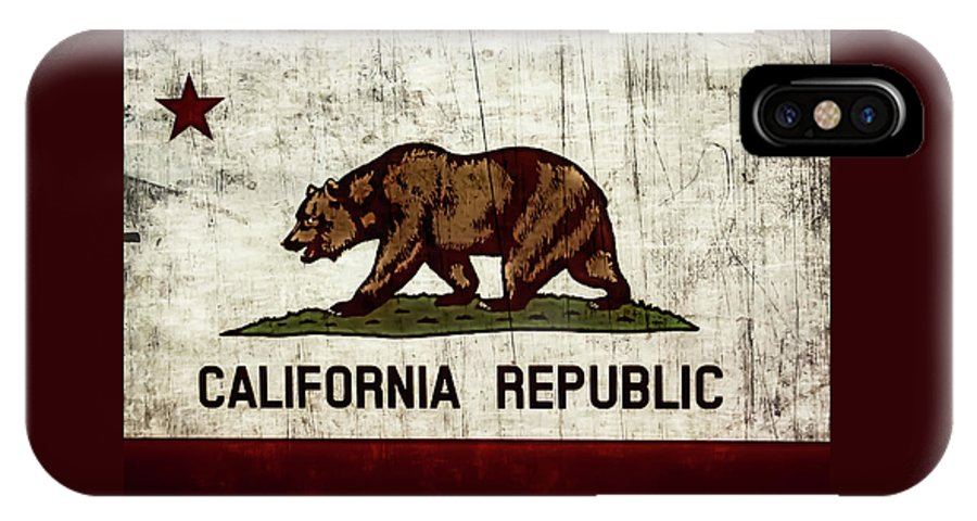 California State Flag IPhone X Case featuring the photograph Rustic California State Flag Design by Heather Joyce Morrill