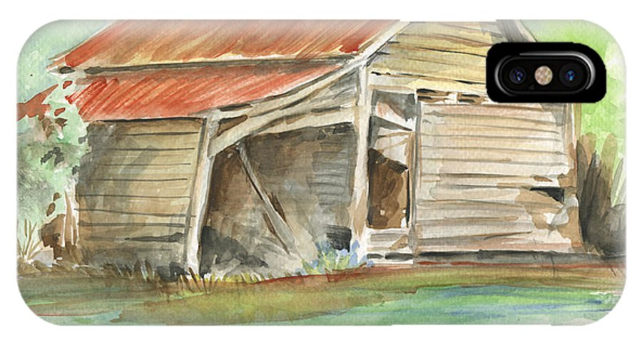 Barn IPhone X Case featuring the painting Rustic Southern Barn by Greg Joens