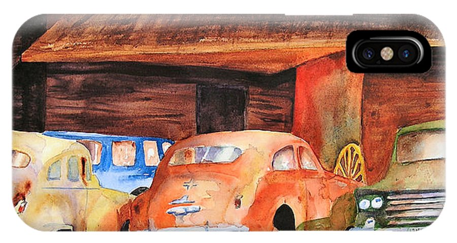 Car IPhone Case featuring the painting Rusting by Karen Stark
