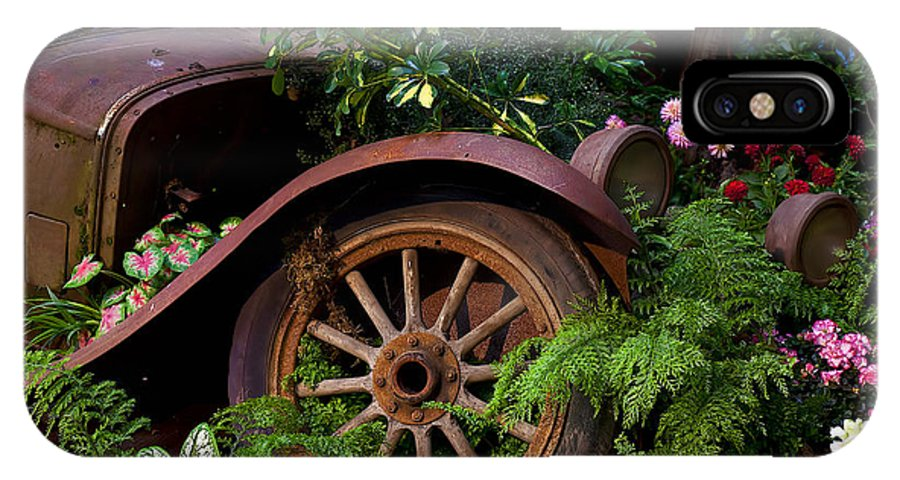 Rusty Truck IPhone X Case featuring the photograph Rusty Truck In The Garden by Garry Gay