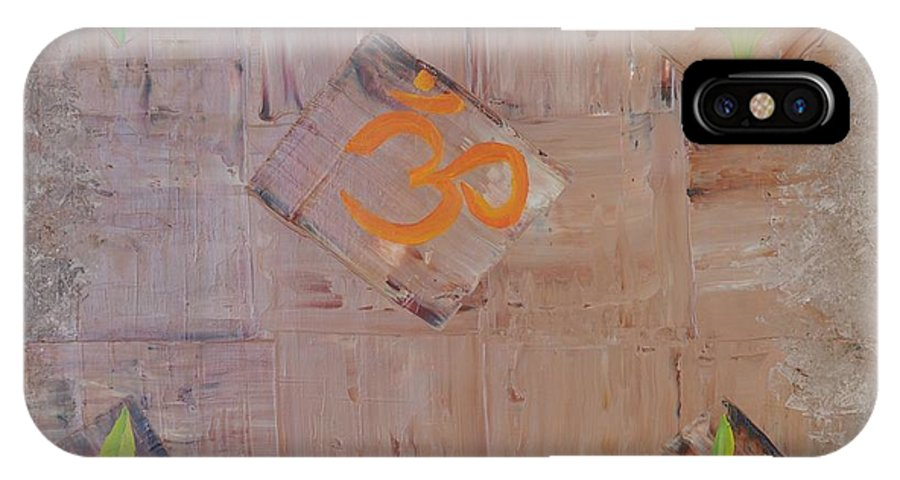 Symbolism IPhone X / XS Case featuring the painting Sacred Aum by Georgeta Blanaru