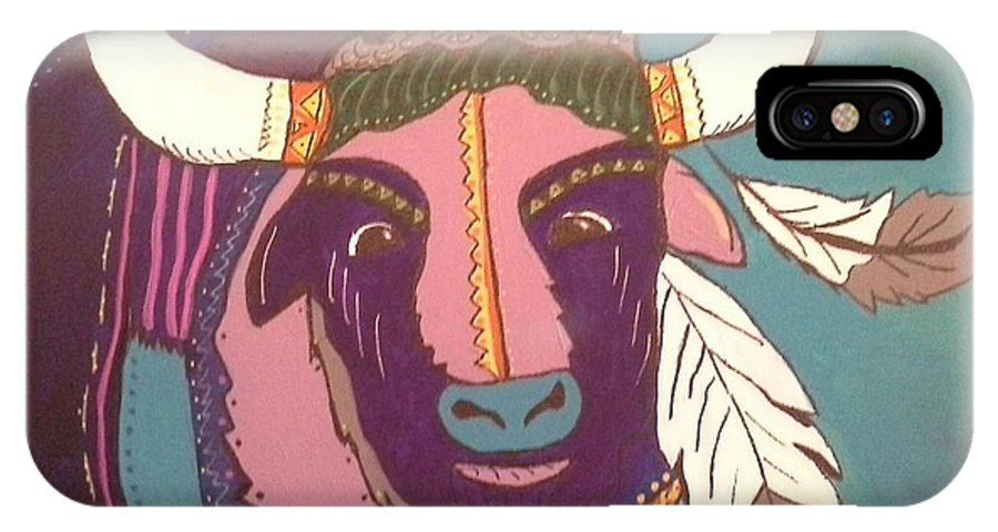 Buffalo IPhone X Case featuring the painting Sacred Buffalo by Sharon Davis