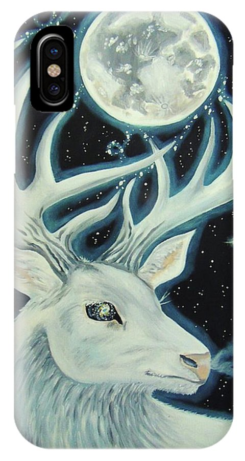 Deer IPhone X / XS Case featuring the painting Sacred by The Art of Christina Marin