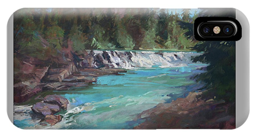 Glacier National Park IPhone X Case featuring the painting Sacred Dancing Cascade by Betty Jean Billups