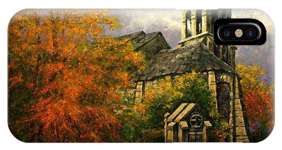 Paris IPhone X / XS Case featuring the painting Sacred Heart Chapel Paris by Jim Gola