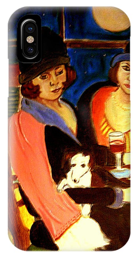 1920s IPhone X Case featuring the painting Sad Cafe by Rusty Gladdish