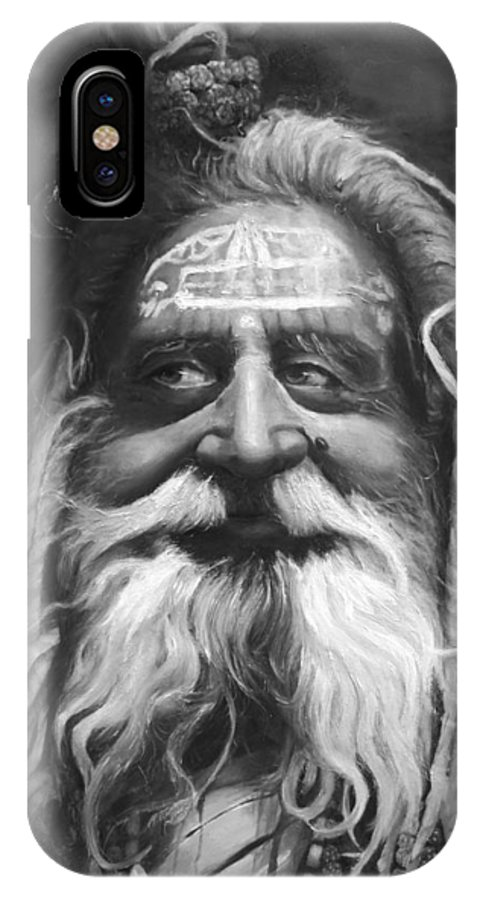 Sadhu IPhone X Case featuring the painting Sadhu by Portraits By NC