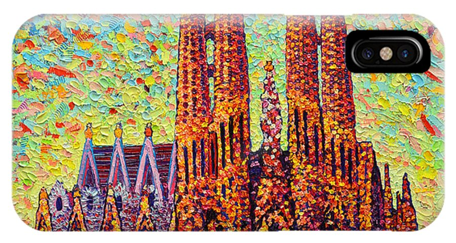 Sagrada IPhone X Case featuring the painting Sagrada Familia Barcelona Spain by Ana Maria Edulescu