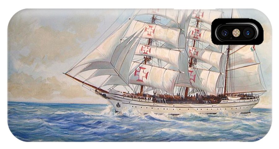 Tall Ship IPhone X Case featuring the painting Sagres by Perrys Fine Art