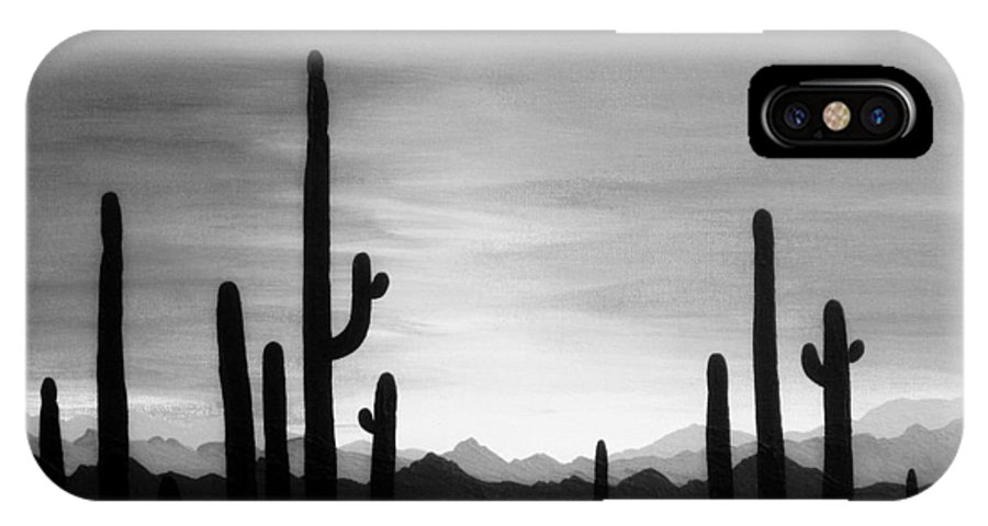 Sunset IPhone X Case featuring the painting Saguaro Sunset Grayscale by Carol Sabo