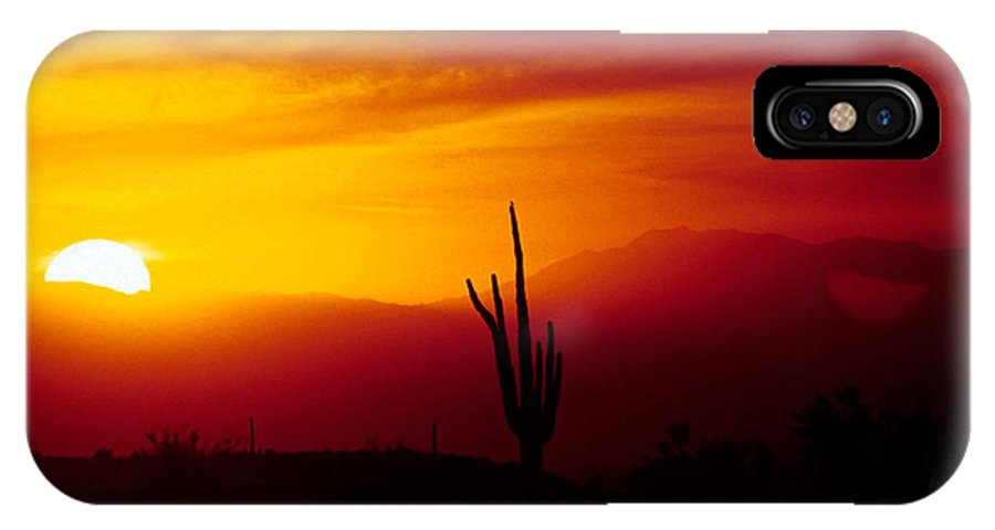 Arizona IPhone X Case featuring the photograph Saguaro Sunset by Randy Oberg