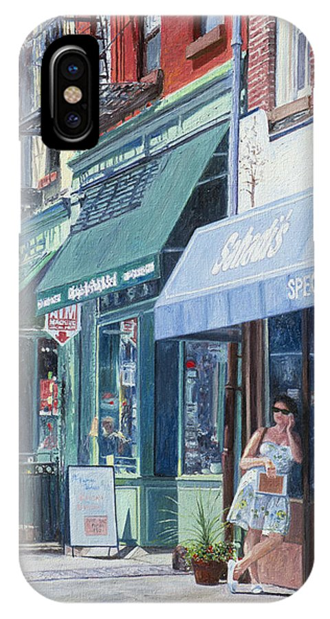 Brooklyn IPhone X / XS Case featuring the painting Sahadis Atlantic Avenue Brooklyn by Anthony Butera