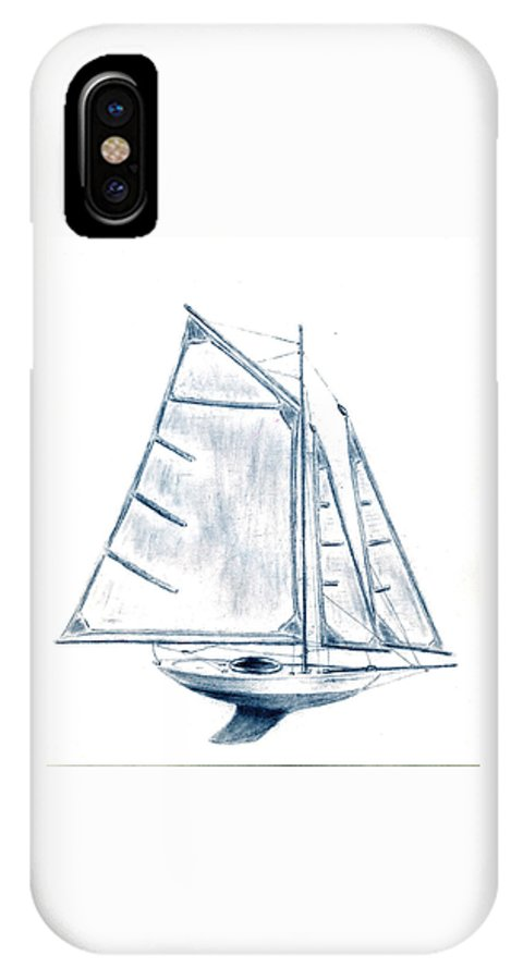 Boat IPhone X Case featuring the drawing Sail Boat by Michael Vigliotti