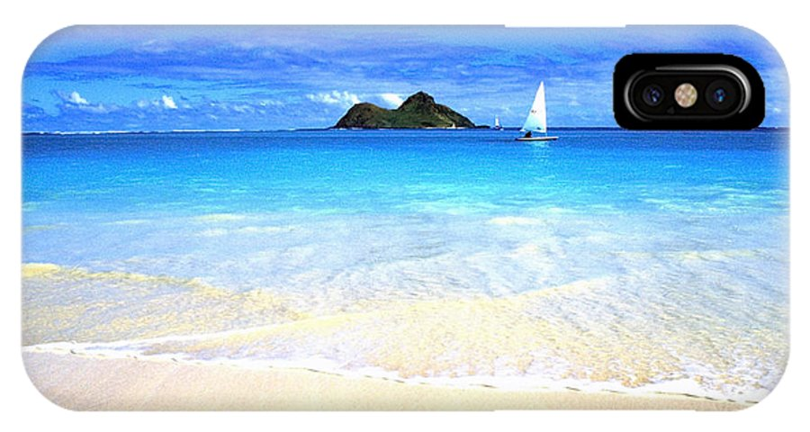 Lanikai Beach IPhone X Case featuring the photograph Sailboat And Islands by Thomas R Fletcher