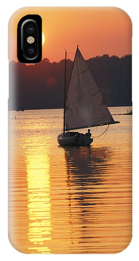 North America IPhone X / XS Case featuring the photograph Sailboat And Sunset, South River by Skip Brown